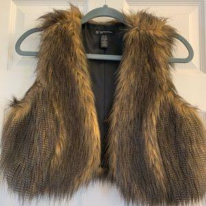 Brown Faux Fur Vest Womens